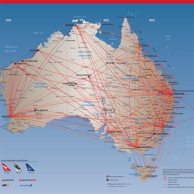Réseau aérien en Australie de la compagnie Qantas Airways
