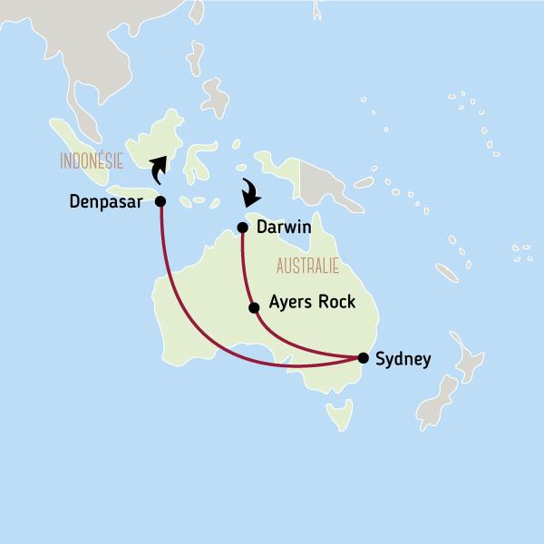 Carte Australie Et Iles Fidji.Voyage Australie Bali Combine A La Carte Australie Bali