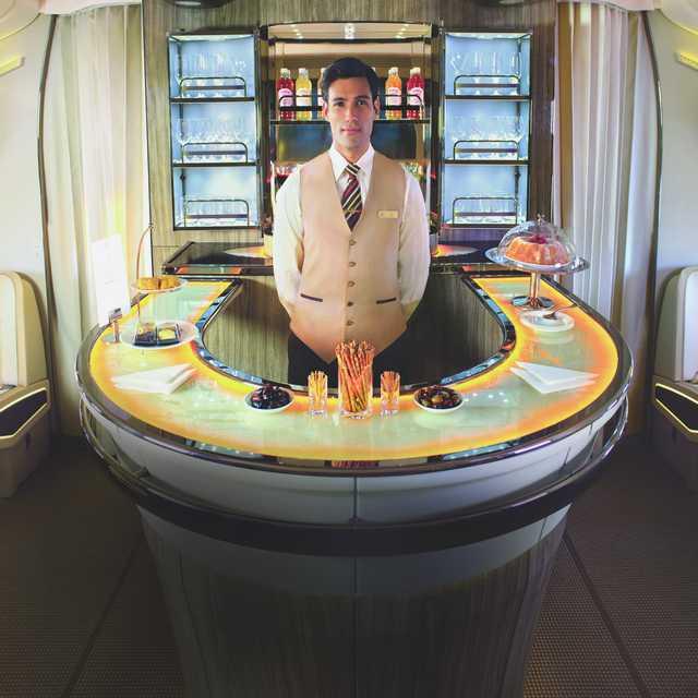 Bar à bord d'un A380 d'Emirates